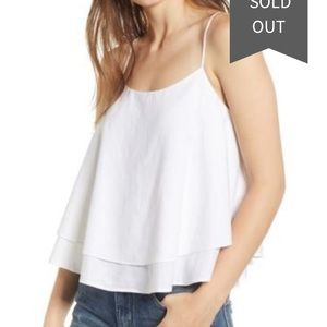 BP. Tiered Linen Blend Camisole Tank Small White